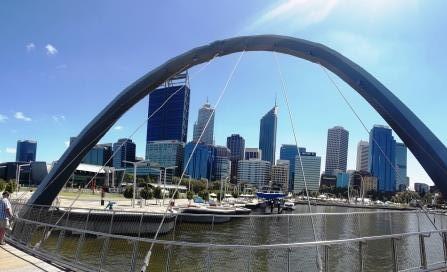 Vista dello Skyline della città di Perth , capoluogo del Australia occidentale
