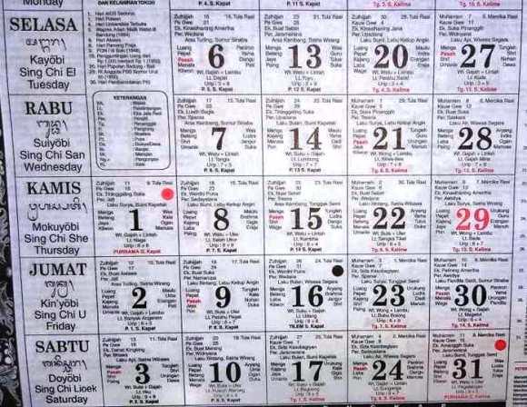 Bali calendario saka