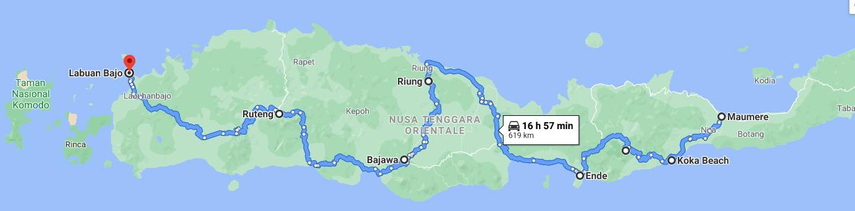 Mappa del mio viaggio a Flores